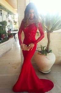 Sexy Red Lace Appliques Mermaid Prom Dress 2018 Sweep Train Long Sleeve
