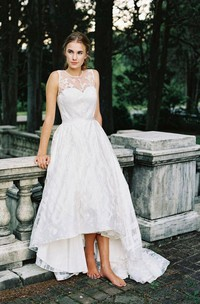 Jewel Sleeveless A-Line High-Low Dress With Appliques