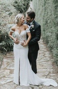 Split Front Off-the-shoulder Sexy Sweetheart Satin Wedding Dress With Lace And Button Details