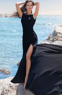 Sexy Satin Bateau Mermaid Sleeveless Evening Dress with Beading and Split Front