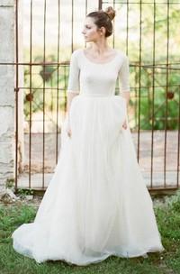 Modest A Line Scoop Neck Half Sleeved Full Back Tulle Skirt Wedding Dress with Sleeves