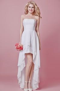 Strapless Empire High Low Wedding Dress