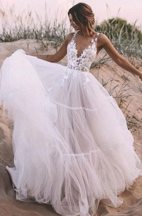 Ball Gown V-neck Lace Tulle Floor-length Sleeveless Wedding Dress with Appliques