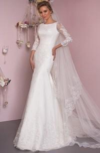 Mermaid Floor-Length Appliqued Scoop Neck 3-4 Sleeve Lace Wedding Dress