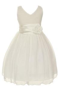 Sleeveless V-neck A-line Tulle Dress With Flower