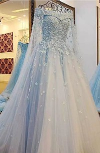 A-Line Off-the-shoulder Short Sleeve Lace Tulle Wedding Dress