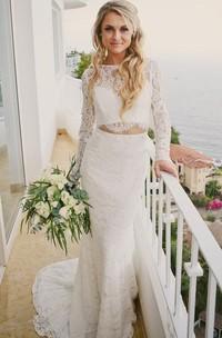Two Piece Bateau Lace Floor-length Long Sleeve Wedding Dress