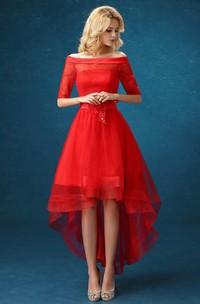 Off The Shoulder Half Sleeve High Low Dress