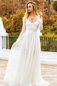 Bohemian Lace Scoop A Line Long Sleeve Wedding Dress with Keyhole Back
