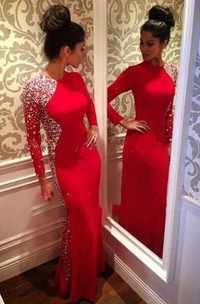 Glamorous Crystals Mermaid Jewel Evening Dress Red 2018 Long Sleeve