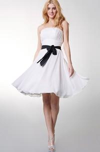 Strapless Empire Chiffon Short Bridesmaid Dress With Bow