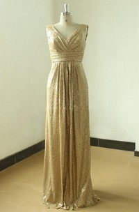 Floor-length Gold Sequined V-neck Gown With Low V Back