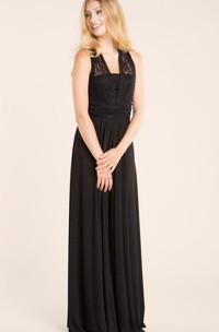 Floor-length Lace&Jersey&Satin Dress
