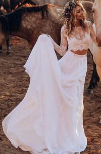 Simple Chiffon Lace Bateau Two Piece Sweep Train Wedding Dress