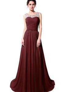 Sleeveless A-line Chiffon Dress With Illusion Neckline