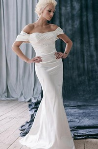 Off-Shoulder Fit and Flare Satin Wedding Dress With Ruffles