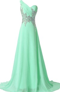 One-shoulder Rhinestoned A-line Gown With Illusion Back