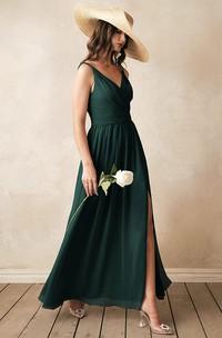 Sexy A Line V-neck Chiffon Sleeveless Bridesmaid Dress with Split