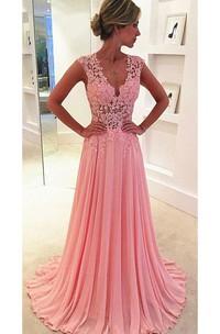 Beautiful Pink Sleeveless Lace Appliques Prom Dresses 2018 Long Chiffon