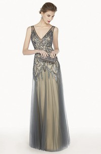 V Neck Sleeveless A-Line Tulle Long Prom Dress With Sequined Embroidery
