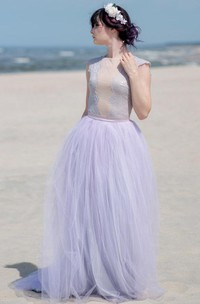 Tulle&Satin Dress With Button&Zipper