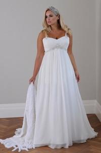 Plus Size Spaghetti Strap Crystal Beaded Chiffon Beach Wedding Gown
