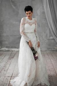 Natural Long Sleeve Lace Weddig Dress