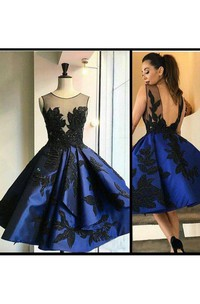 Ball Gown Bateau Sleeveless Appliques Ruffles Tea-length Satin Homecoming Dress