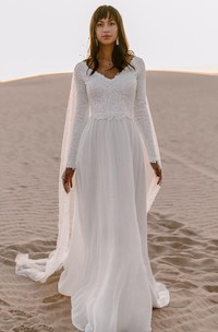 Bohemian Chiffon Lace V-neck A Line Long Sleeve Wedding Dress with Deep-V Back