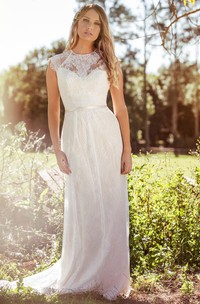 Sheath Scoop-Neck Floor-Length Sleeveless Lace Wedding Dress With Appliques And Illusion