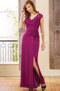 Peplum-Inspire Lace V-Neckline Cap-Sleeved Mother Of The Bride