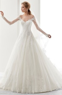 Long-Sleeve A-Line Bridal Gown With Brush Train And Illusive Design