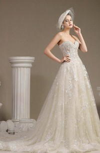 Lace Ballgown Princess Floral Appliqued Sweetheart Sleeveless Wedding Dress With Boning