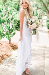 Sheath High Neck Lace Floor-length Sweep Train Sleeveless Wedding Dress