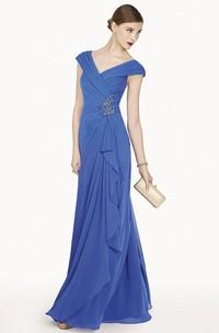 V Neck Cap Sleeve A-Line Chiffon Long Prom Dress With Ruffles