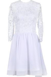 Scoop Long Sleeve Lace Bodice Bridal Dress
