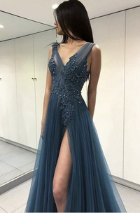 Ethereal V-neck Floor-length Front Split Dress With Appliques And Beading