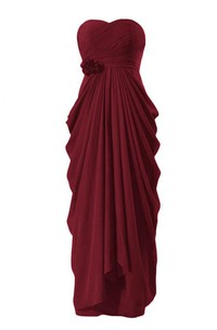 Sweetheart Ruffled Chiffon Dress With Flower