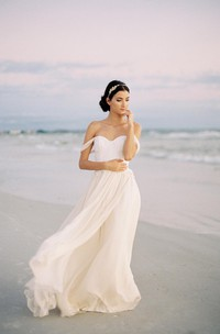 Romantic Off the Shoulder Ivory Chiffon Wedding Dress With Lace Bodice