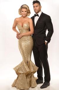 Mermaid Cascading-Ruffle Floor-Length Sweetheart Sleeveless Sequins Prom Dress With Split Front