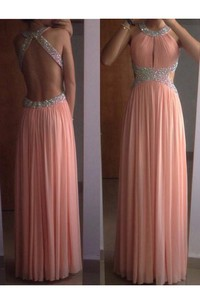 A-Line Princess Sleeveless Scoop Chiffon Pleats Floor-Length Dresses