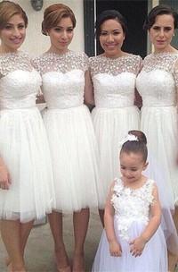 Romantic White Tulle Lace Bridesmaid Dress 2018 Short Sleeve