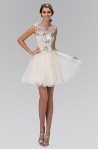 A-Line Short Scoop-Neck Cap-Sleeve Tulle Dress With Lace And Sequins