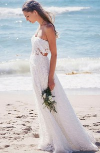 Two Piece Strapless Floor-length Lace Beach Boho Wedding Dress Wedding Dresses