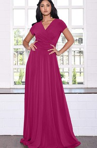 A Line V-neck Jersey Short Sleeve Prom Dress With Criss Cross and Pleats