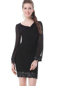 Long-sleeved V-neck Short Dress With Beadings
