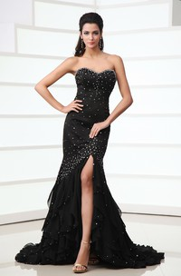 Chic High-Low Soft Flowing Fabric Sleeveless Dress With Crystal Detailings