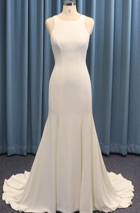 Satin Ruching Sleeveless Jewel Neck Mermaid Wedding Dress With Illusion Back With Buttons