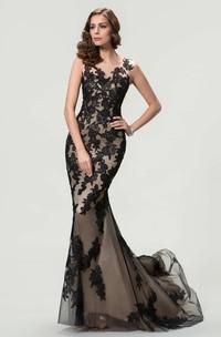 Sleeveless Bateau Neck Mermaid Long Lace Dress