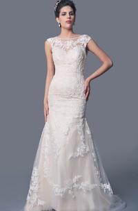 High Neck Mermaid Lace Wedding Dress with Deep V Back